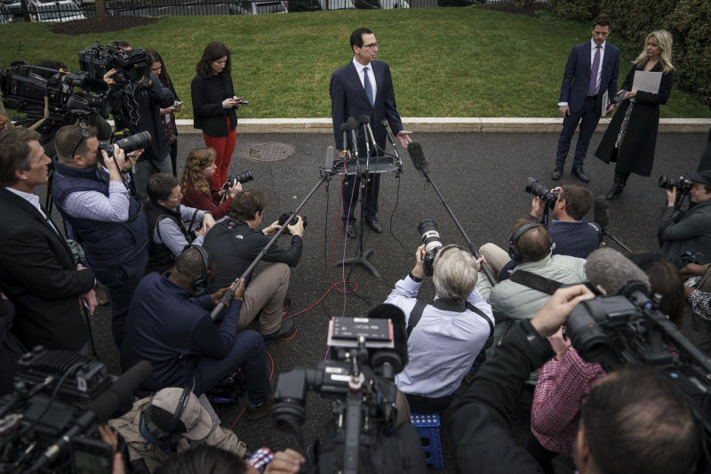 WASHINGTON, DC - MARCH 13: U.S. Treasury Secretary Steven Mnuchin speaks to the press outside of the West Wing of the White House on March 13, 2020 in Washington, DC. Mnuchin fielded questions about the economic effects of the coronavirus pandemic. (Photo by Drew Angerer/Getty Images)