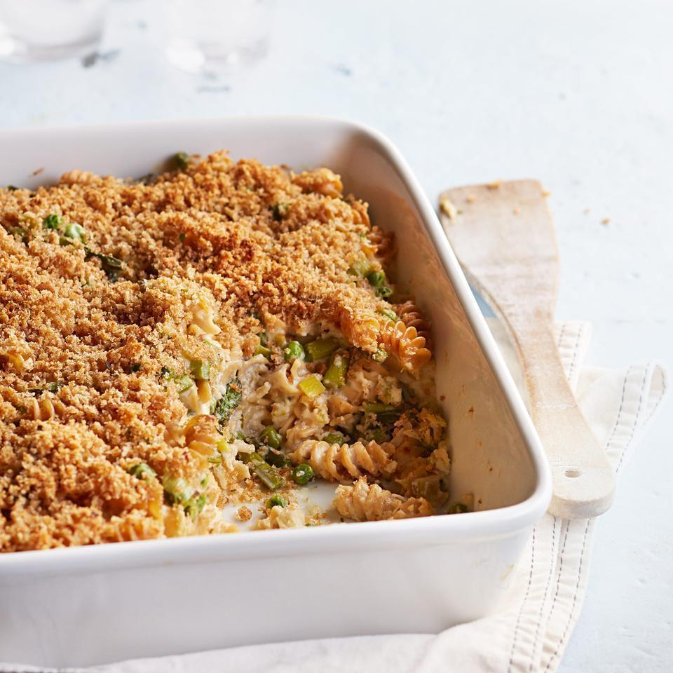 "<p>This healthy casserole recipe contains tons of veggies alongside whole-wheat pasta for a satisfying dinner kids and adults will enjoy. <a href=""http://www.eatingwell.com/recipe/251358/gruyere-asparagus-pea-baked-pasta/"" rel=""nofollow noopener"" target=""_blank"" data-ylk=""slk:View recipe"" class=""link rapid-noclick-resp""> View recipe </a></p>"