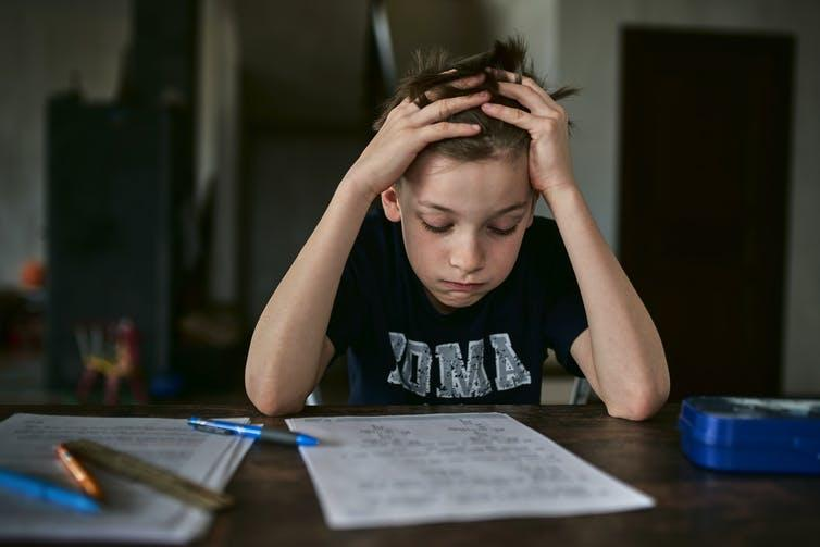 Boy stressed over learning at home