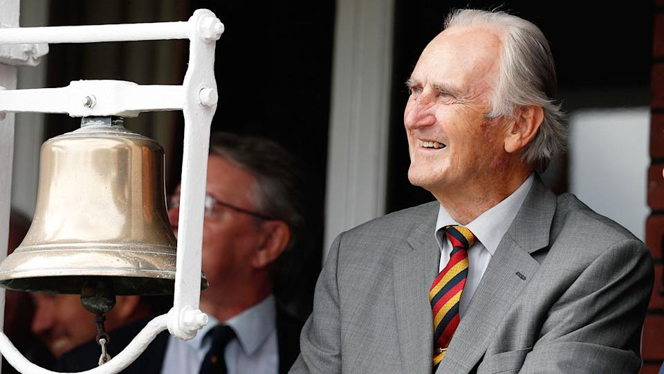 Pictured here, Ted Dexter sits next to the iconic bell at Lord's.