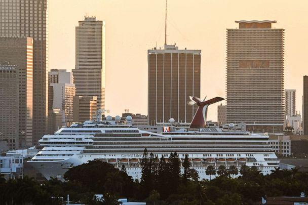 PHOTO: A docked Carnival Liberty cruise ship is seen at the Port of Miami in Miami Beach, Fla., April 14, 2021. (Joe Raedle/Getty Images, FILE)