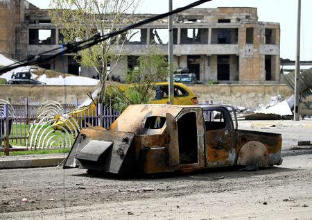 A vehicle that belonged to Islamic State militants and was equipped with explosive materials, is seen in Mosul