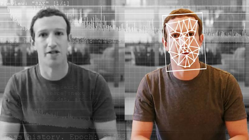 A comparison of an original and deepfake video of Facebook CEO Mark Zuckerberg. (Elyse Samuels/The Washington Post via Getty Images)