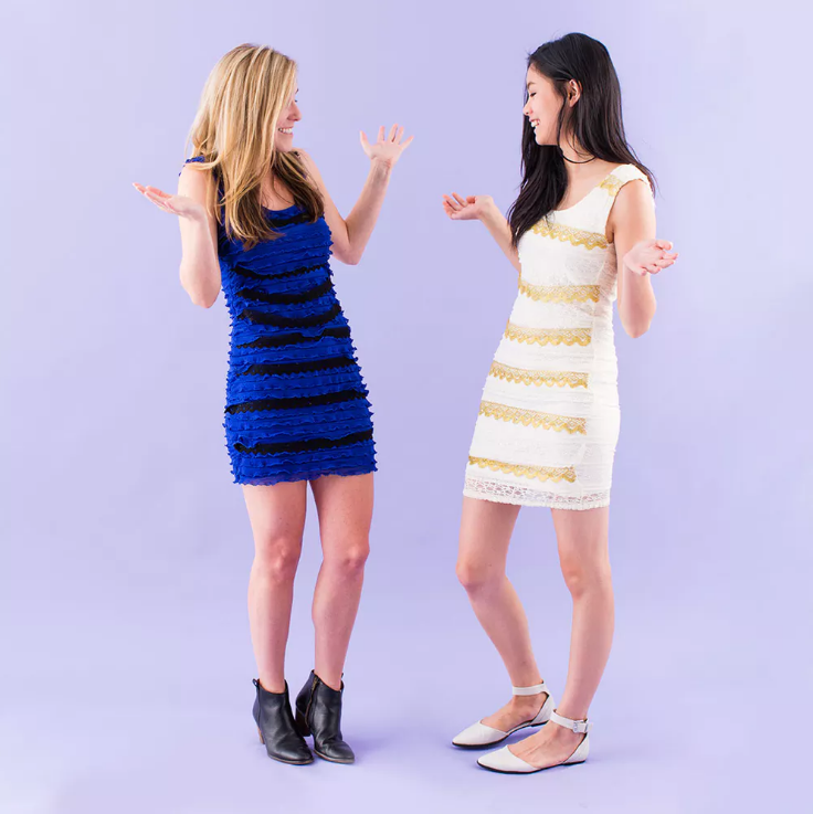 "<p>Before there was Yanny and Laurel, there was gold/white and blue/black. Whichever combination you see, everyone will know <em>exactly</em> what meme you're going for with this DIY costume idea from Brit + Co. </p><p><a class=""link rapid-noclick-resp"" href=""https://www.amazon.com/FENSACE-Womens-Sleeveless-Scoop-Summer/dp/B06WP5FRQF/ref=sr_1_7?tag=syn-yahoo-20&ascsubtag=%5Bartid%7C10055.g.23549593%5Bsrc%7Cyahoo-us"" rel=""nofollow noopener"" target=""_blank"" data-ylk=""slk:SHOP BLUE DRESS"">SHOP BLUE DRESS</a></p><p><a class=""link rapid-noclick-resp"" href=""https://www.amazon.com/FENSACE-Womens-Sleeveless-Scoop-Summer/dp/B07G2L4C7N/ref=sr_1_7?th=1&tag=syn-yahoo-20&ascsubtag=%5Bartid%7C10055.g.23549593%5Bsrc%7Cyahoo-us"" rel=""nofollow noopener"" target=""_blank"" data-ylk=""slk:SHOP WHITE DRESS"">SHOP WHITE DRESS</a></p><p><em><a href=""https://www.brit.co/diy-pop-culture-costumes-2015/"" rel=""nofollow noopener"" target=""_blank"" data-ylk=""slk:See the full tutorial on Brit + Co »"" class=""link rapid-noclick-resp"">See the full tutorial on Brit + Co »</a></em> </p>"