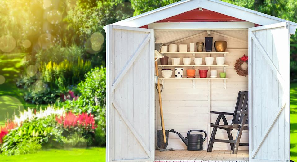 Tidy and secure: Outdoor garden furniture helps keep your gardening tools safe. (Getty Images)