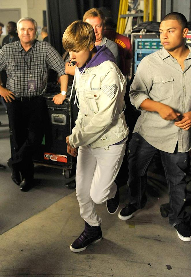 """Teen dream Justin Bieber prepared backstage to rock New York's Madison Square Garden on Tuesday while filming concert footage for his upcoming 3D movie. Kevin Mazur/<a href=""""http://www.wireimage.com"""" target=""""new"""">WireImage.com</a> - August 31, 2010"""