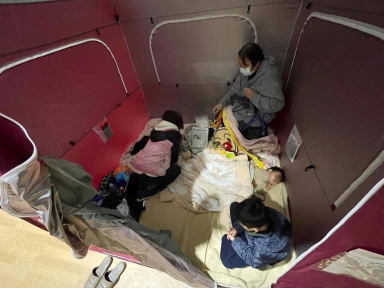 More than 250 people took shelter at 173 emergency facilities in Fukushima and its surrounding regions, with social distancing in place