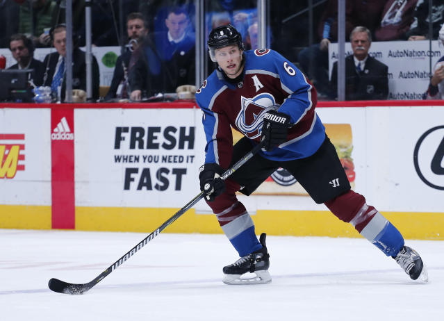 "<a class=""link rapid-noclick-resp"" href=""/nhl/teams/col/"" data-ylk=""slk:Colorado Avalanche"">Colorado Avalanche</a> defenseman <a class=""link rapid-noclick-resp"" href=""/nhl/players/3979/"" data-ylk=""slk:Erik Johnson"">Erik Johnson</a> could see a dip in his production down the stretch. (AP Photo/Jack Dempsey)"