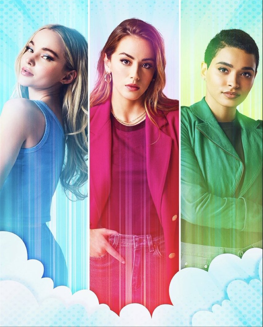 Chloe Bennet, Dove Cameron and Yana Perrault as Blossom, Bubbles and Buttercup as the Powerpuff Girls