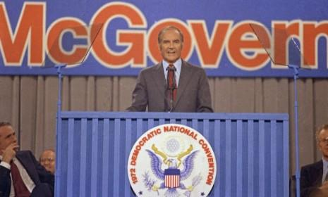 George McGovern speaks at the Democratic National Convention in 1972: The Democrat's presidential campaign was chronicled by Hunter S. Thompson in Rolling Stone.