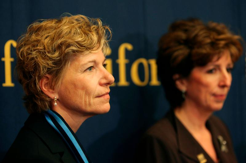 FILE -- In this May 7, 2009 file photo, new UC San Francisco chancellor Susan Desmond-Hellmann, left, and new UC Davis chancellor Linda Katehi, are shown at a University of California Board of Regents news conference in San Francisco. The Bill & Melinda Gates Foundation has named Desmond-Hellmann to be the third CEO of the world's largest charitable foundation. Desmond-Hellman will take over from Jeff Raikes in May, 2014. Raikes announced his retirement in September after five years as foundation CEO. (AP Photo/Jeff Chiu, File)