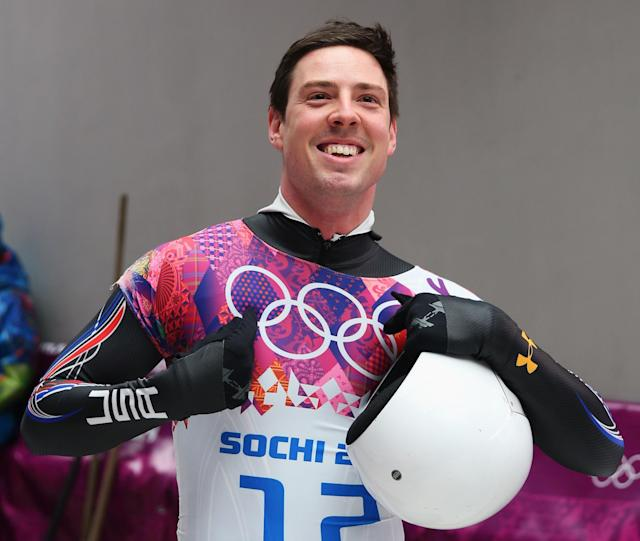 SOCHI, RUSSIA - FEBRUARY 15: Kyle Tress of the United States reacts after a run during the Men's Skeleton on Day 8 of the Sochi 2014 Winter Olympics at Sliding Center Sanki on February 15, 2014 in Sochi, Russia. (Photo by Mike Ehrmann/Getty Images)