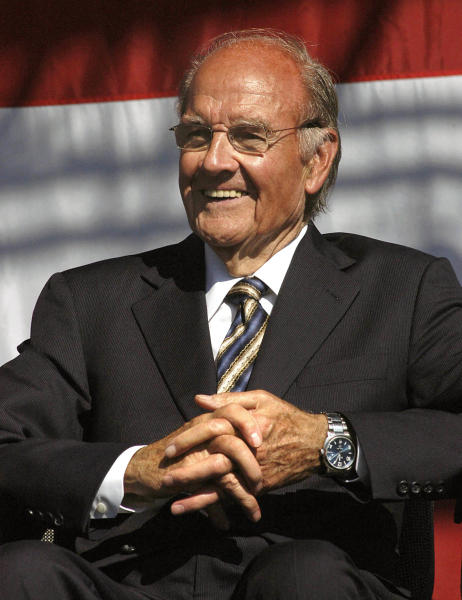 FILE - In this Oct. 7, 2006 file photo, former U.S. Sen. George McGovern smiles during the dedication of the George and Eleanor McGovern Library in Mitchell, S.D. A family spokesman said McGovern passed away peacefully, surrounded by family and life-long friends early Sunday morning Oct. 21, 2012. He was 90. (AP Photo/Doug Dreyer, File)