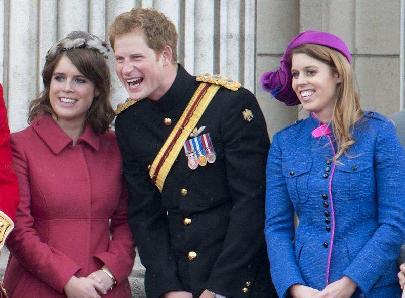 Princess Beatrice, Prince Harry And Princess Eugenie During Trooping The Colour In London.