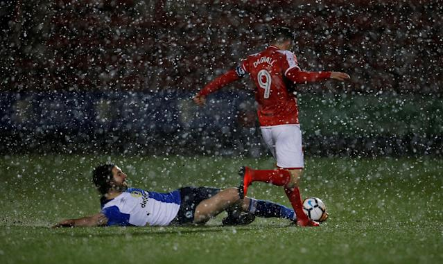Soccer Football - FA Cup Second Round Replay - Crewe Alexandra vs Blackburn Rovers - The Alexandra Stadium, Crewe, Britain - December 13, 2017 Blackburn Rovers' Charlie Mulgrew (L) in action with Crewe Alexandra's Chris Dagnall Action Images/Craig Brough