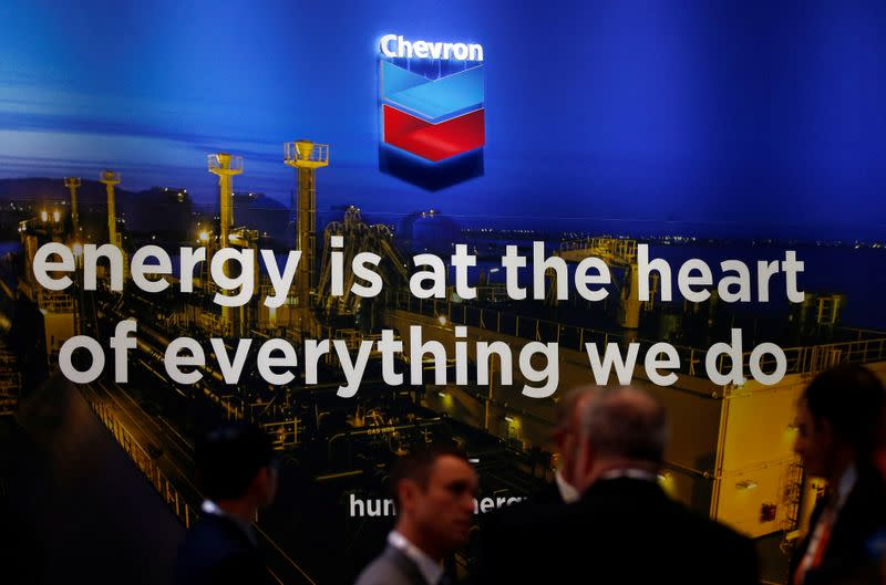 The logo of Chevron Corp is seen in its booth at Gastech, the world's biggest expo for the gas industry, in Chiba