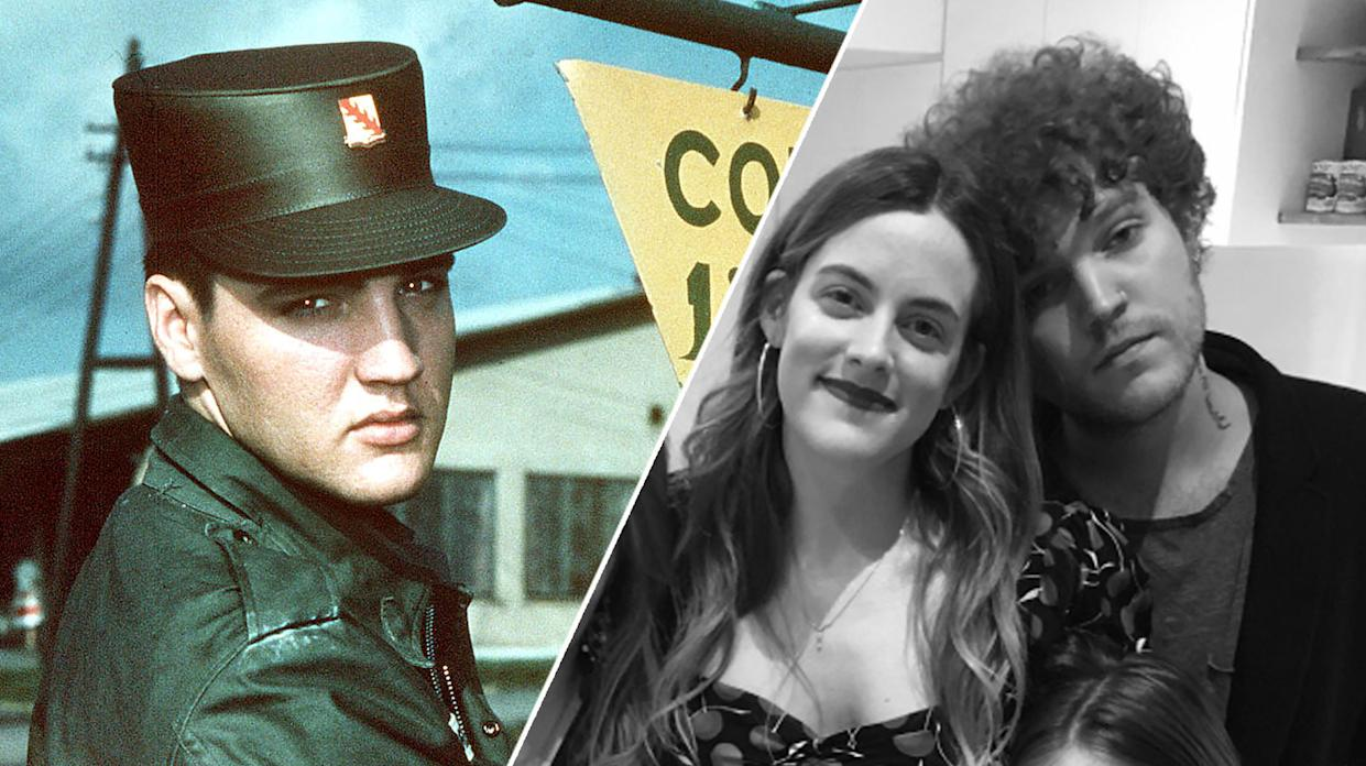 (L) Elvis Presley in Friedberg, Germany, where he spent 18 months between 1958 and 1960. (R) Riley and Benjamin Keough. (AP/Twitter)