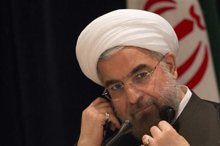 Iran's President Hassan Rouhani takes questions from journalists during a news conference in New York