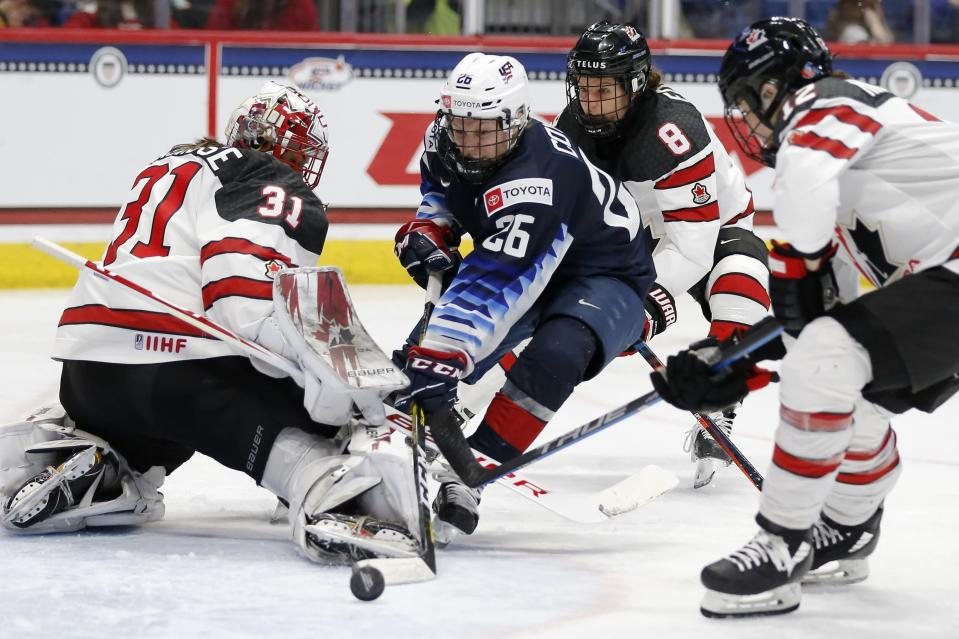 Canada's Geneviève Lacasse (31) blocks a shot by United States' Kendall Coyne Schofield (26) during the third period of a rivalry series women's hockey game in Hartford, Conn., Saturday, Dec. 14, 2019. (AP Photo/Michael Dwyer)