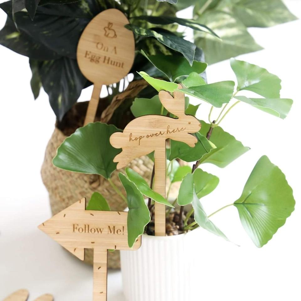 These 14cm plywood signs make your Easter egg hunt Insta-perfect. Photo: CMC Gold