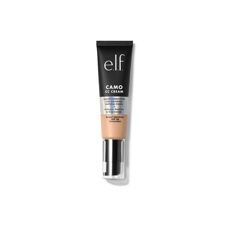 """<h2>e.l.f. Cosmetics Camo CC Cream</h2><br>If you're a fan of the e.l.f. Camo collection, then this CC Cream will be a winner in your book. Not only will it give you a smooth, buildable medium finish, but SPF 30, niacinamide, and collagen work overtime to make sure your skin stays soft and safe.<br><br><strong>e.l.f. Cosmetics</strong> e.l.f. Cosmetics Camo CC Cream, $, available at <a href=""""https://go.skimresources.com/?id=30283X879131&url=https%3A%2F%2Fwww.elfcosmetics.com%2Fcamo-cc-cream%2F300176.html%3Fdwvar_300176_Color%3DFair%2520120%2520N%26cgid%3Dwhats-new%23start%3D1"""" rel=""""nofollow noopener"""" target=""""_blank"""" data-ylk=""""slk:e.l.f. Cosmetics"""" class=""""link rapid-noclick-resp"""">e.l.f. Cosmetics</a>"""