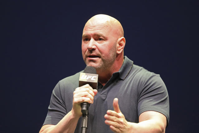 No, Dana White does not have a deal with Vladimir Putin to get Khabib Nurmagomedov out of Russia. (AP Photo/Gregory Payan)