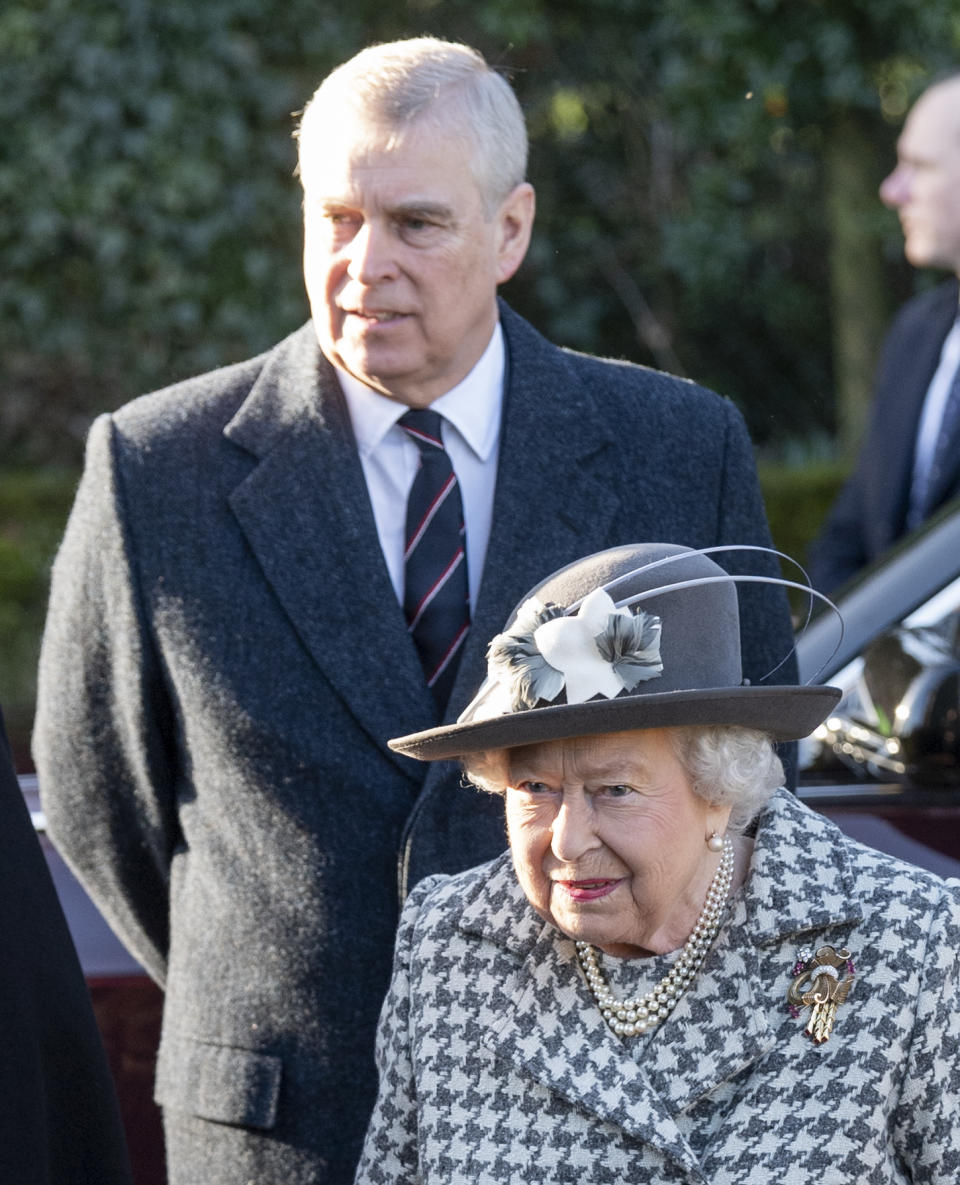 KING'S LYNN, ENGLAND - JANUARY 19: Queen Elizabeth II and Prince Andrew, Duke of York attend church at St Mary the Virgin at Hillington in Sandringham on January 19, 2020 in King's Lynn, England. (Photo by Mark Cuthbert/UK Press via Getty Images)
