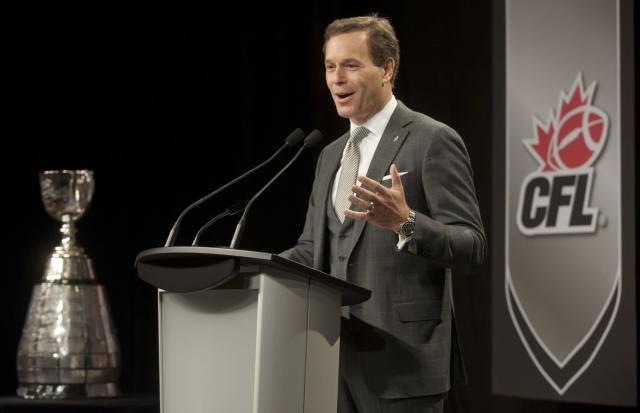 Canadian Football Commissioner Mark Cohon gives his state of the league address during a press conference in Regina, Saskatchewan on Friday, Nov. 22, 2013. The Saskatchewan Roughriders will face the Hamilton Tiger-Cats Sunday in the 101st CFL Grey Cup. (AP Photo/The Canadian Press, Liam Richards)