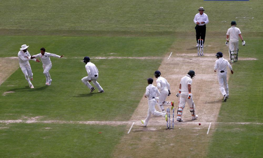 A wicket falls in the fourth Test