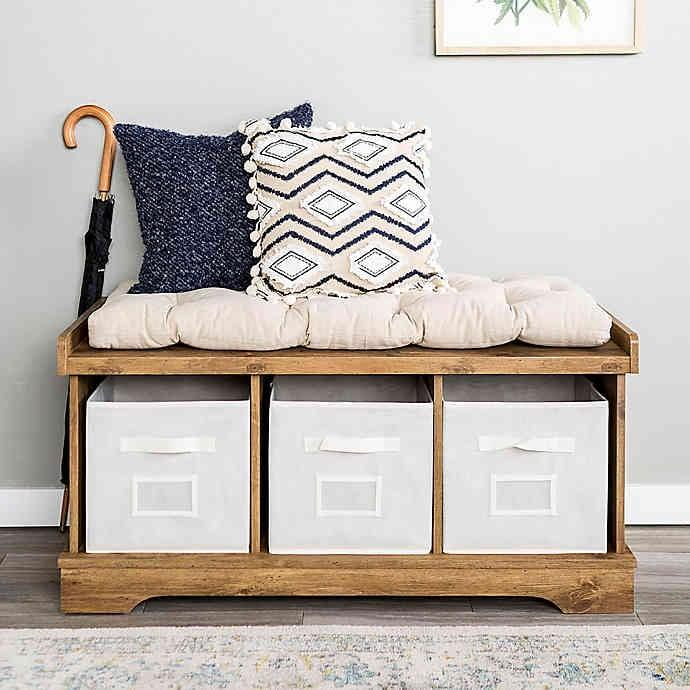 "<p>Place the <a href=""https://www.popsugar.com/buy/Forest-Gate-Contemporary-Wood-Storage-Bench-Totes-Cushion-478106?p_name=Forest%20Gate%20Contemporary%20Wood%20Storage%20Bench%20With%20Totes%20and%20Cushion&retailer=bedbathandbeyond.com&pid=478106&price=190&evar1=casa%3Aus&evar9=46482928&list1=shopping%2Cfurniture%2Cbed%20bath%20%26%20beyond&prop13=api&pdata=1"" rel=""nofollow"" data-shoppable-link=""1"" target=""_blank"" class=""ga-track"" data-ga-category=""Related"" data-ga-label=""https://www.bedbathandbeyond.com/store/product/forest-gate-42-contemporary-wood-storage-bench-with-totes-and-cushion/3313875?categoryId=14991"" data-ga-action=""In-Line Links"">Forest Gate Contemporary Wood Storage Bench With Totes and Cushion</a> ($190) by your front door and accent it with decorative pillows. No one will notice its storage bins underneath.</p>"