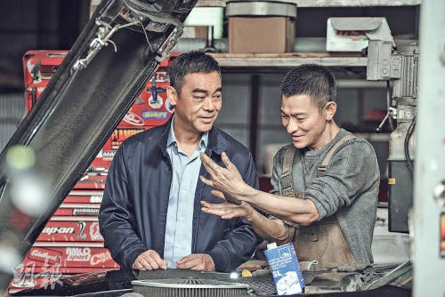 Andy Lau and Sean Lau on the set of 'Shock Wave 2'