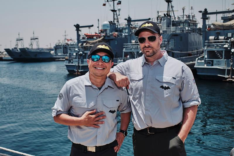 DC CCO Jim Lee and 'Batman' writer Tom King on DC's USO organized trip to Kuwait (Photo: Waleed Shah/DC Entertainment)