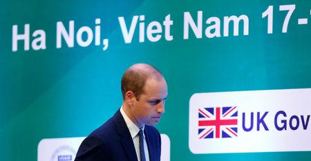 Britain's Prince William walks on stage before giving his speech at the Conference on illegal wildlife trade in Hanoi, Vietnam November 17, 2016. REUTERS/Kham