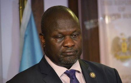 South Sudan First Vice President Riek Machar attends a news conference at the Presidential State House following renewed fighting in South Sudan's capital Juba, July 8, 2016. Picture taken July 8, 2016. REUTERS/Stringer