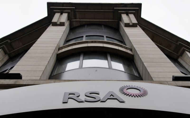 FILE PHOTO: The logo of British insurance group RSA outside its London offices