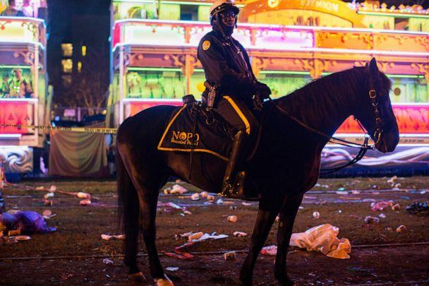PHOTO: A police officer works the scene where a man was reportedly hit and killed by a float of the Krewe of Endymion parade in the runup to Mardi Gras in New Orleans, Saturday, Feb. 22, 2020. (Max Becherer/The Advocate via AP)
