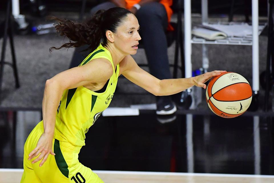 "<p>Seattle Storm veteran Sue Bird knows she has often <a href=""https://www.popsugar.com/celebrity/russell-wilson-sue-bird-megan-rapinoe-espys-speech-video-47563036"" class=""link rapid-noclick-resp"" rel=""nofollow noopener"" target=""_blank"" data-ylk=""slk:stayed silent on racial justice issues"">stayed silent on racial justice issues</a>, a fact she admitted to in her ESPYs monologue. That's not the case anymore. Beyond writing with Ogwumike about the role of the WNBA in the fight for social justice, Bird was the player who suggested <a href=""https://www.popsugar.com/fitness/why-wnba-players-are-wearing-vote-warnock-shirts-47669202"" class=""link rapid-noclick-resp"" rel=""nofollow noopener"" target=""_blank"" data-ylk=""slk:wearing &quot;Vote Warnock&quot; T-shirts"">wearing ""Vote Warnock"" T-shirts</a> as a way to leverage the WNBA's political influence. (Rev. Raphael Warnock is an Atlanta pastor running against Sen. Kelly Loeffler, an Atlanta Dream coowner who opposed the WNBA's support of Black Lives Matter movement.) ""This is our moment to prove that we know a better world is one where Black Lives are valued,"" Bird said in her ESPYs opening.</p>"