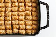"""This Tater Tot hotdish has the body of a chicken pot pie—a close examination reveals that the only real differences are the subbing of chicken for ground beef and the use of a homemade cream of chicken soup instead of mushroom soup. We're sure it won't offend a hotdish purist. <a href=""""https://www.epicurious.com/recipes/food/views/chicken-pot-tot-hotdish?mbid=synd_yahoo_rss"""" rel=""""nofollow noopener"""" target=""""_blank"""" data-ylk=""""slk:See recipe."""" class=""""link rapid-noclick-resp"""">See recipe.</a>"""