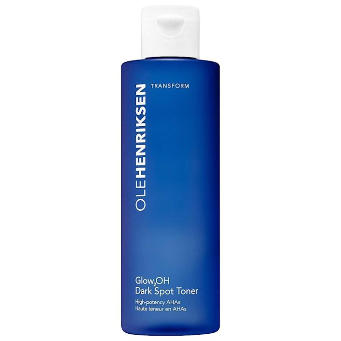 """<p><strong>OLEHENRIKSEN</strong></p><p>sephora.com</p><p><strong>$34.00</strong></p><p><a href=""""https://go.redirectingat.com?id=74968X1596630&url=https%3A%2F%2Fwww.sephora.com%2Fproduct%2Fglow2oh-dark-spot-toner-P439061&sref=https%3A%2F%2Fwww.marieclaire.com%2Fbeauty%2Fg35567295%2Fglycolic-acid-toners%2F"""" rel=""""nofollow noopener"""" target=""""_blank"""" data-ylk=""""slk:SHOP IT"""" class=""""link rapid-noclick-resp"""">SHOP IT</a></p><p>Maybe you had cystic acne as a teen, or maybe your breakouts are in full swing. Either way, there's a chance you've got some residual effects left to show for it, like dark spots or a bumpy texture. This liquid lifts that stubborn hyperpigmentation and smooths the complexion to bring you back to center. And it comes in a huge bottle, so it'll last you months. </p>"""
