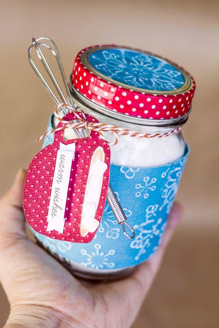 """<p>Give friends and family tasty warm wishes with this white hot chocolate mix in a jar. The project comes with a printable to make it even quicker to whip (whisk?) up.</p><p><strong>Get the tutorial at <a href=""""http://blog.darice.com/holiday/chocolate-mason-jar-christmas-gifts/"""" rel=""""nofollow noopener"""" target=""""_blank"""" data-ylk=""""slk:Darice"""" class=""""link rapid-noclick-resp"""">Darice</a>.</strong></p><p><a class=""""link rapid-noclick-resp"""" href=""""https://www.amazon.com/Mini-Whisks-5-inch-4Pcs/dp/B071XWKD9S/ref=asc_df_B071XWKD9S/?tag=syn-yahoo-20&ascsubtag=%5Bartid%7C10050.g.2132%5Bsrc%7Cyahoo-us"""" rel=""""nofollow noopener"""" target=""""_blank"""" data-ylk=""""slk:SHOP MINI WHISKS"""">SHOP MINI WHISKS</a><br></p>"""