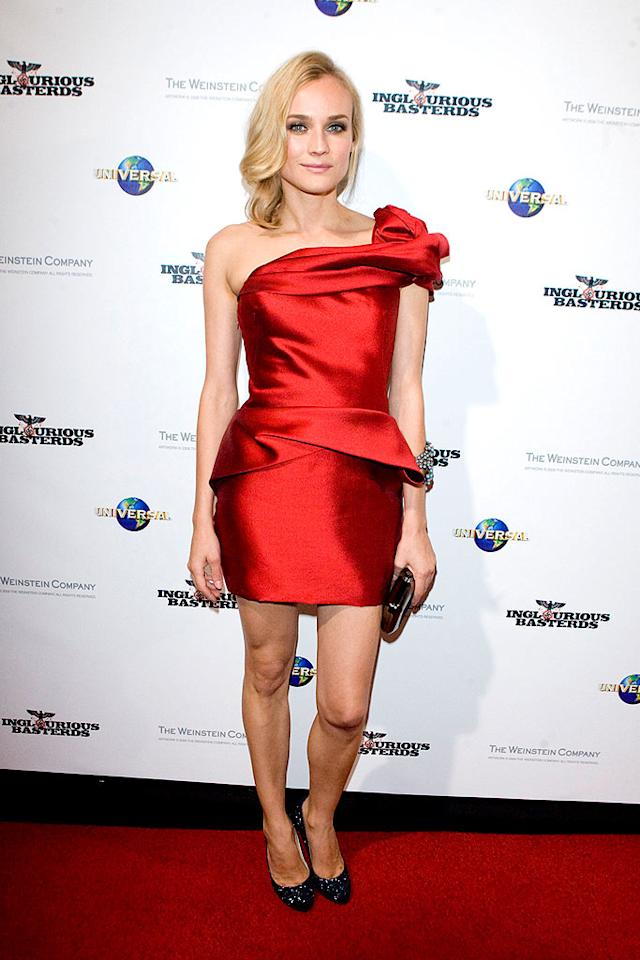 "While out and about promoting her upcoming Quentin Tarantino flick, ""Inglourious Basterds,"" Diane Kruger dazzled in a draped Marchesa dress and crystal-encrusted Christian Louboutin heels. Snapper Media/<a href=""http://www.splashnewsonline.com"" target=""new"">Splash News</a> - August 3, 2009"