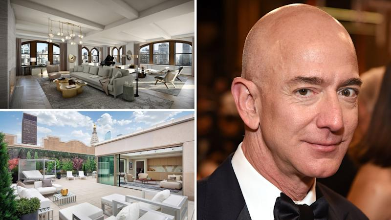 Composite image of the living room and outdoor entertaining area at Jeff Bezos' reported new property, 212 Fifth Avenue. Images: Sotheby's, Getty, VisualHouse