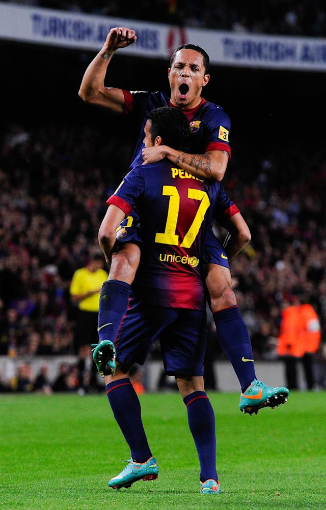 BARCELONA, SPAIN - NOVEMBER 03: Adriano Correia of FC Barcelona celebrates with his teammate Pedro Rodriguez of FC Barcelona after scoring the opening goal during the La Liga match between FC Barcelona and RC Celta de Vigo at Camp Nou on November 3, 2012 in Barcelona, Spain. (Photo by David Ramos/Getty Images)
