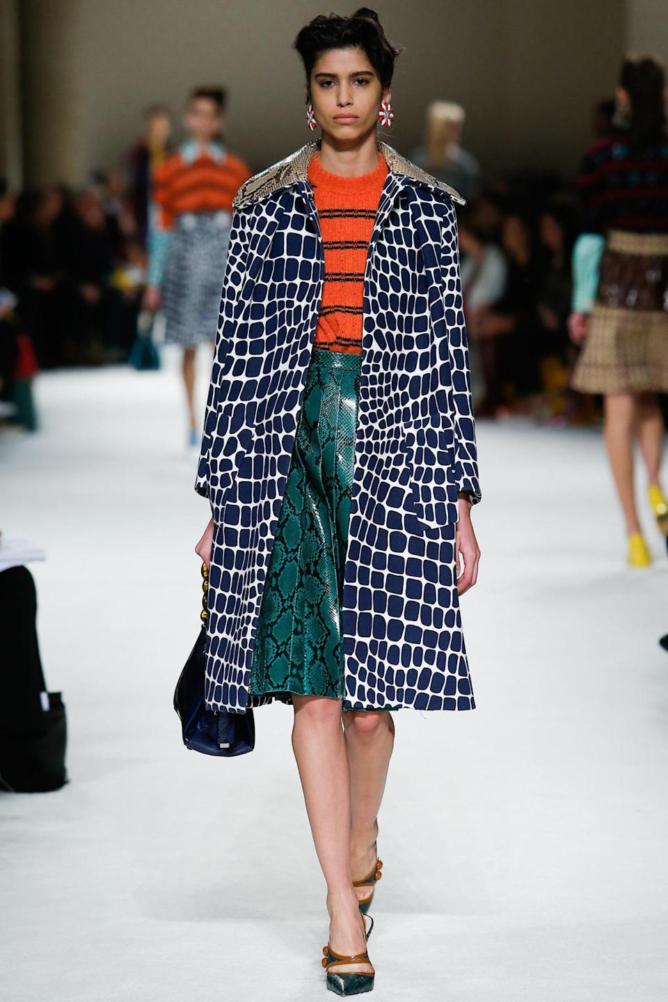 <p>The sister brand to Prada showcased a selection of jeweled tone mary janes in various fabrics and skins. Photo: IMAXtree</p>