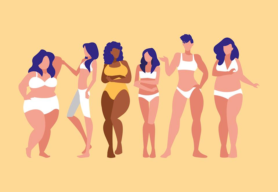 women of different sizes and races modeling underwear vector illustration design