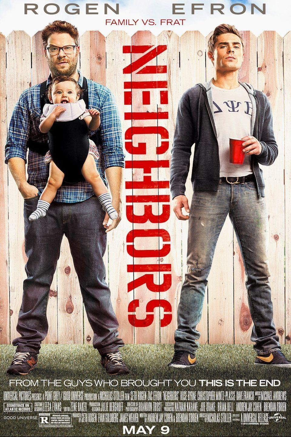 """<p>Mac and Kelly (<strong>Seth Rogan</strong> and <strong>Rose Byrne</strong>) are two parents who just moved into the neighborhood with their baby daughter. Everything seems to fall into place until their next-door neighbor Teddy (<strong>Zac Efron</strong>) and his fraternity move in and start a war with the two parents. You can only imagine the hilarity that ensues.</p><p><a class=""""link rapid-noclick-resp"""" href=""""https://www.amazon.com/Neighbors-Seth-Rogen/dp/B00K7WZGPA/ref=sr_1_2?dchild=1&keywords=NEIGHBORS&qid=1596922515&sr=8-2&tag=syn-yahoo-20&ascsubtag=%5Bartid%7C10055.g.33513354%5Bsrc%7Cyahoo-us"""" rel=""""nofollow noopener"""" target=""""_blank"""" data-ylk=""""slk:WATCH NOW"""">WATCH NOW</a></p>"""