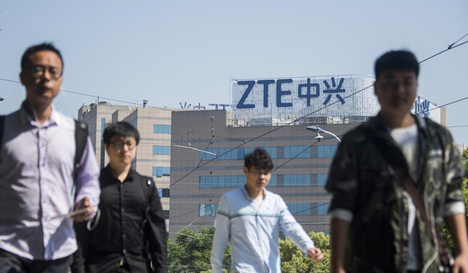 The ZTE logo on an office building in Shanghai in 2018. Photo: AFP