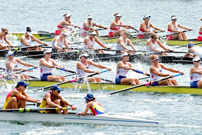The United States competes in the women's rowing eight  during the Tokyo 2020 Olympic Summer Games at Sea Forest Waterway.