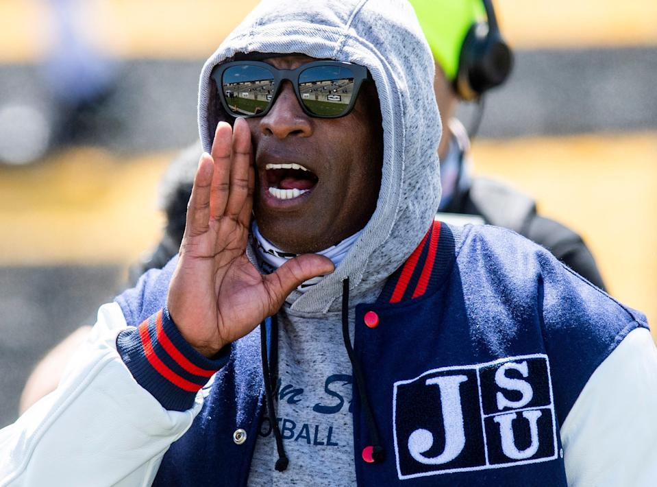 Deion Sanders during warm-ups before Jackson State's game against Alabama State.