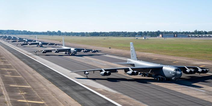 B-52H Stratofortresses from the 2nd Bomb Wing line up on the runway as part of a readiness exercise at Barksdale Air Force Base, La.
